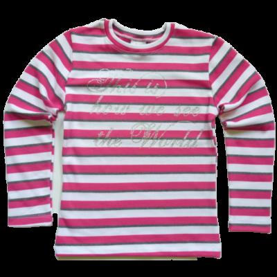 110-es rózsaszín-fehér csíkos strasszköves pulóver - ÚJ