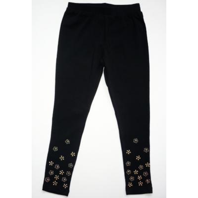 122-es fekete szára alján virágos leggings - ÚJ