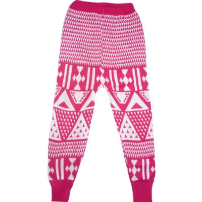 128-as rózsaszín mintás kötött vastag leggings - ÚJ