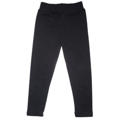 116-os fekete mintás szőrmével bélelt leggings - ÚJ