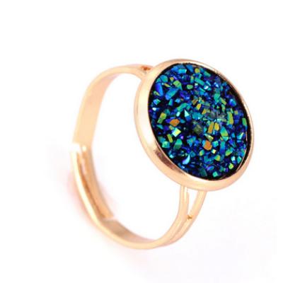 Csillogó gyűrű - kék, arany színű foglalatban - ÚJ