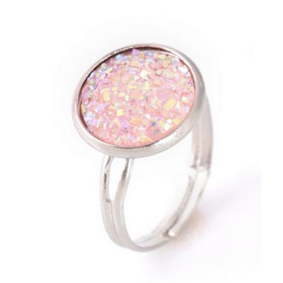 Csillogó gyűrű - rózsaszín, ezüst színű foglalatban - ÚJ