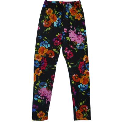 122-es fekete virágos leggings - ÚJ