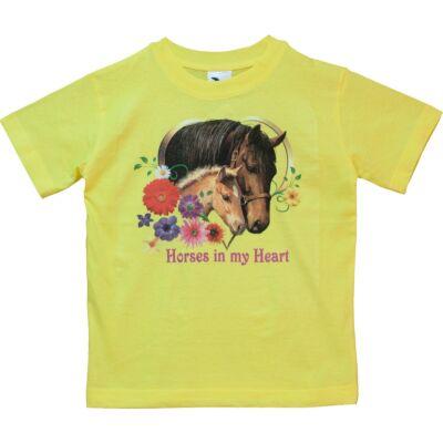 134-es sárga csillogó lovas póló - ÚJ