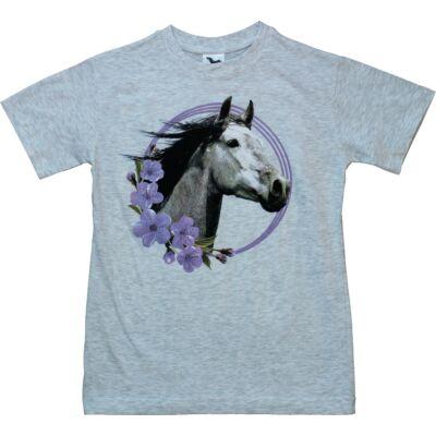 146-os szürke-lila lovas póló - ÚJ