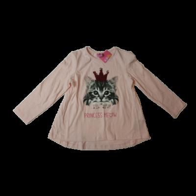 98-as rózsaszín cicás átfordítós flitteres pamutfelső - Kiki & Koko - ÚJ