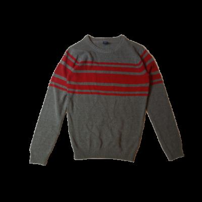 146-152-es szürke-piros kötött pulóver - Y.F.K - ÚJ
