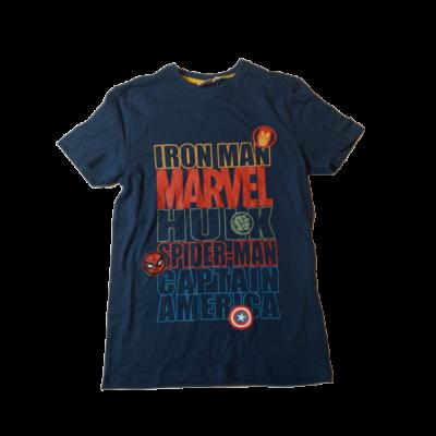 146-152-es sötétkék feliratos póló - Marvel hősök - ÚJ