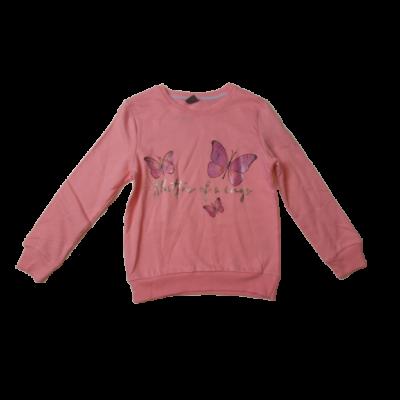 128-as rózsaszín lepkés pulóver - ÚJ