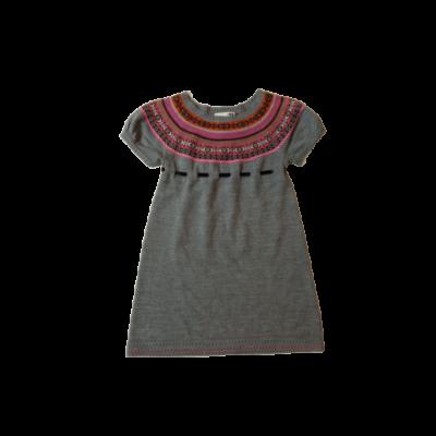 110-es szürke alapon rózsaszín mintás kötött ruha - H&M