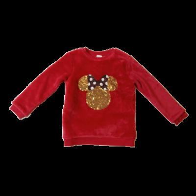104-es piros szőrmés flitteres pulóver - Minnie Egér - H&M