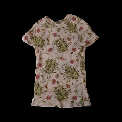 122-128-as rózsaszín virágos sztreccses rövid ujjú felső - Kookai