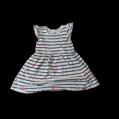 98-as fehér-fekete csíkos szivecskés pamut ruha - H&M