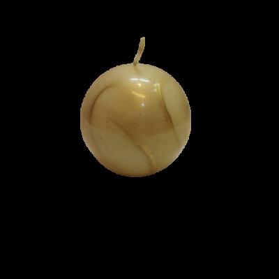 Gömb díszgyertya, drapp-arany, kis méret - ÚJ