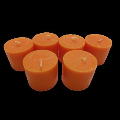 6 db narancssárga illatgyertya, narancs illatú, 5 cm magas - ÚJ