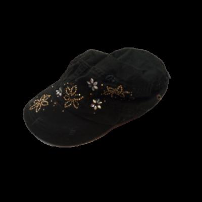 54 cm-es fejre fekete virágos ellenzős nyári sapka lánynak