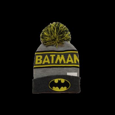 48-50 cm-es fejre szürke-sárga feliratos kötött sapka - Batman