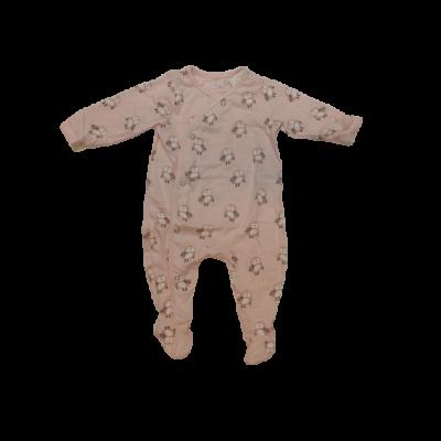 80-as rózsaszín baglyos hosszúujjú pamut rugi - ÚJ