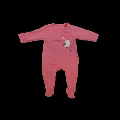 56-os rózsaszín baglyos hosszú ujjú pamut rugi - ÚJ