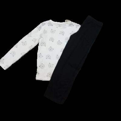116-os fehér-fekete macis pizsama - Fox & Bunny - ÚJ