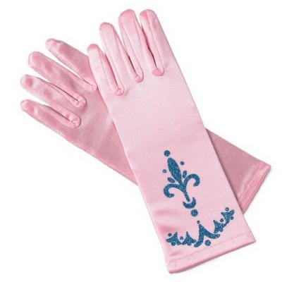 Rózsaszín alapon kék díszítésű hercegnő kesztyű - ÚJ