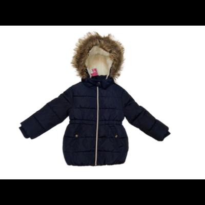 92-es sötétkék szőrmés kapucnis lányka télikabát - Kiki & Koko - ÚJ