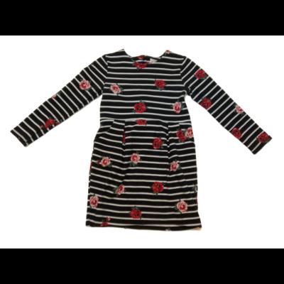 122-128-as fekete alapon fehér csíkos rózsás ruha - H&M