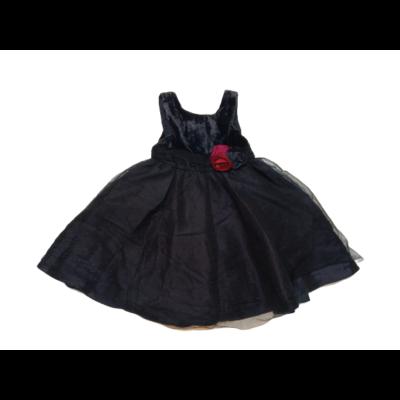 116-os sötétkék bársony-tüll alkalmi ruha - H&M