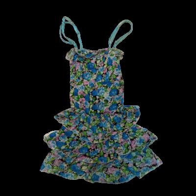 116-os kék-rózsaszín virágos pántos ruha - ÚJ