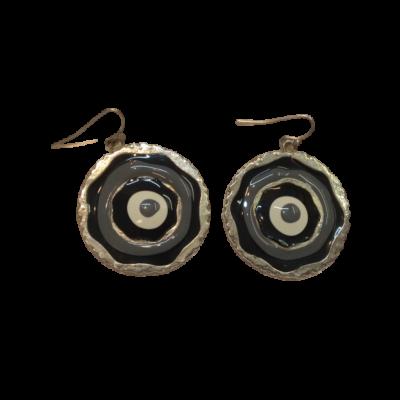 Kör alakú fülbevaló, fekete-fehér-szürke (javítandó)