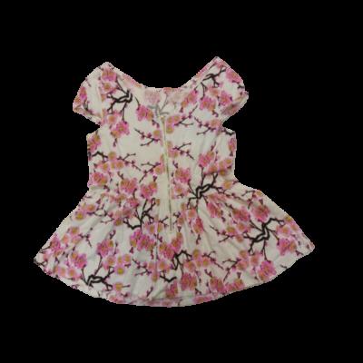 Női L-es fehér alapon rózsaszín virágos rövid ujjú blúz