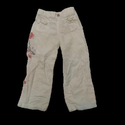 98-as fehér hímzett lenes hosszúnadrág - Marks & Spencer