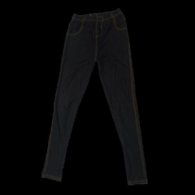 158-164-es fekete farmerhatású leggings