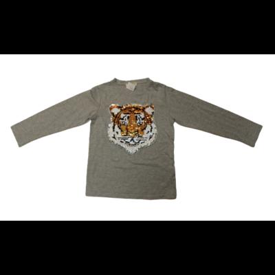 116-os szürke tigrises átfordítható flitteres pamutfelső - Mr. David