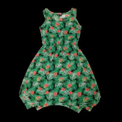 170-176-os zöld levélmintás pamut ruha - Y.F.K