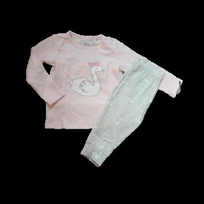 74-es rózsaszín-szürke hattyús pizsama - Fox & Bunny - ÚJ