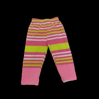 104-es rózsaszín-zöld csíkos leggings - ÚJ