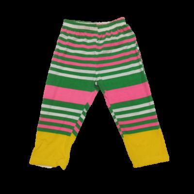 116-os zöld-sárga csíkos leggings - ÚJ