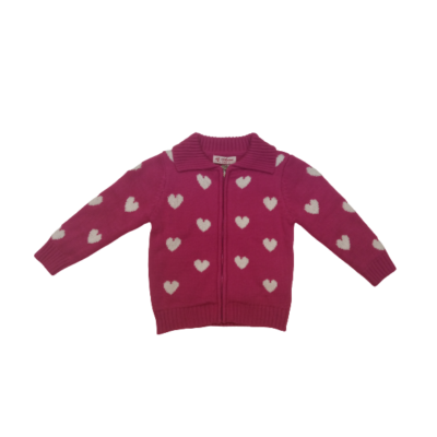 86-os pink szivecskés kötött pulóver - ÚJ