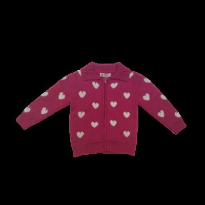 92-es pink szivecskés kötött pulóver - ÚJ