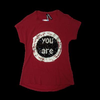 Női M-es átfordítható flitteres bordó póló - Desigual - ÚJ