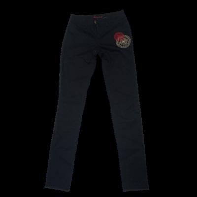Női XS-es fekete hímzett sztreccs nadrág - Desigual