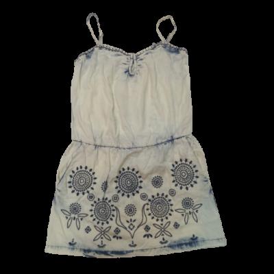 Női XL-es halványkék hímzett pántos farmer ruha - Desigual