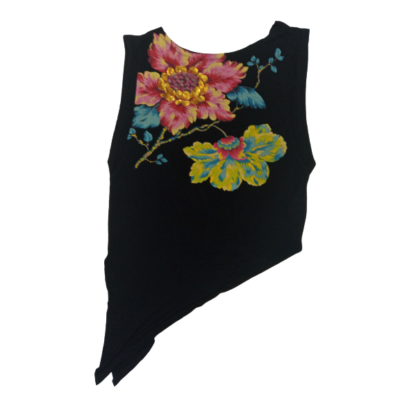 Női S-es fekete virágos tunika jellegű póló - Desigual - ÚJ