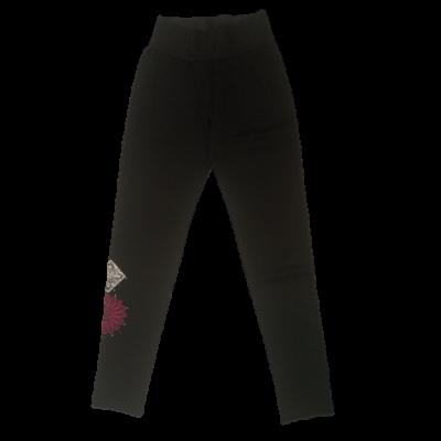 Női S-es fekete nadrág, oldalt virág hímzéssel - Desigual - új