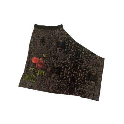 Női XS-es barna-fekete rózsás aszimmetrikus szoknya - Desigual - ÚJ
