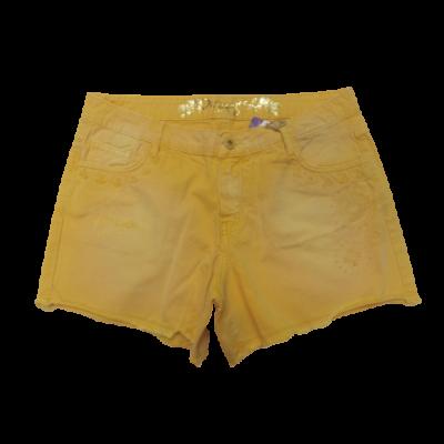 Női L-es sárga hímzett farmershort - Desigual - ÚJ