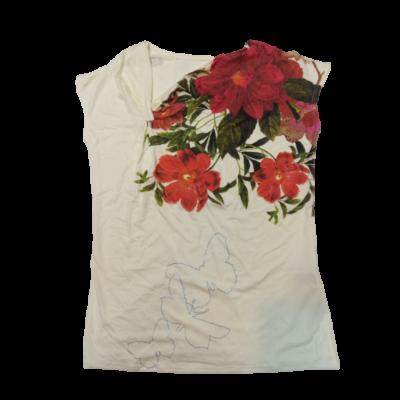 Női M-es fehér virágos póló - Desigual - ÚJ