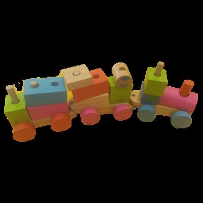 Összeépíthető fa vonat a képen látható elemekből (nem teljes készlet)
