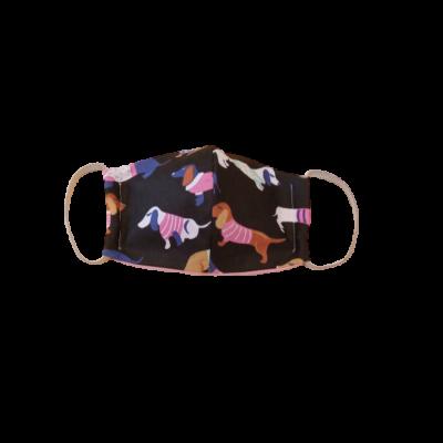 Fekete-rózsaszín kutyás, tacskós felnőtt textil szájmaszk, maszk - ÚJ